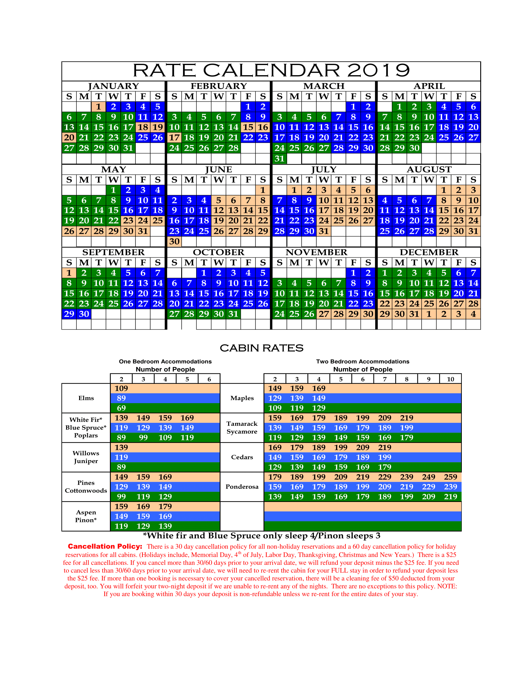Reserve/rates/policies   Lazy Oaks   Page 4573582321 Calendar 2019 Rates