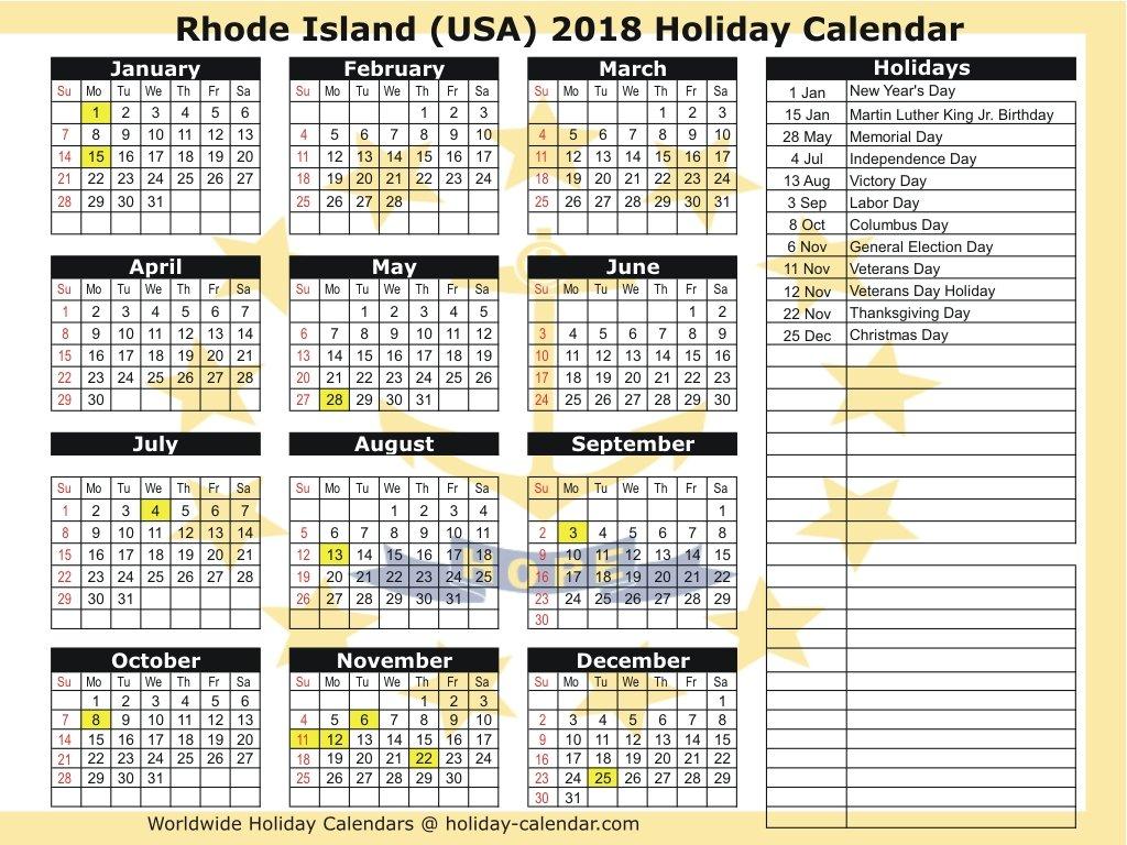 Rhode Island (Usa) 2018 / 2019 Holiday Calendar Calendar 2019 Holidays Usa