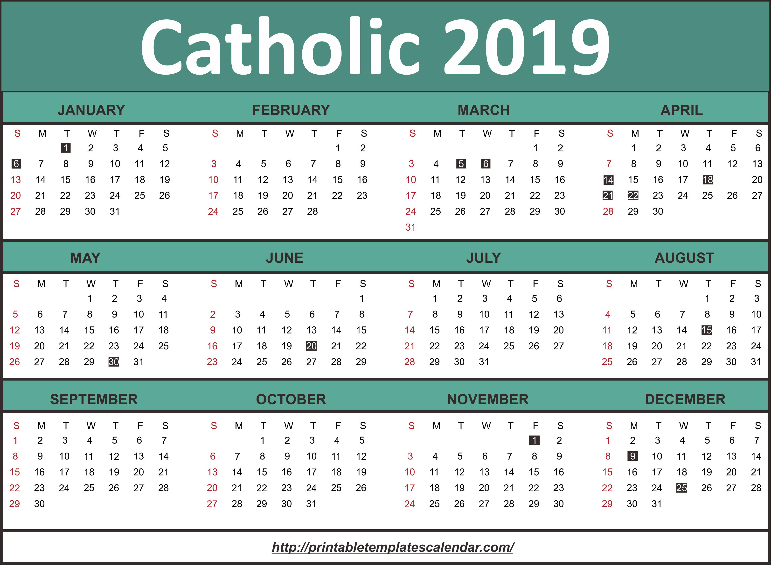Roman Catholic Calendar 2019 | Calendar 2019 Calendar 2019 Catholic
