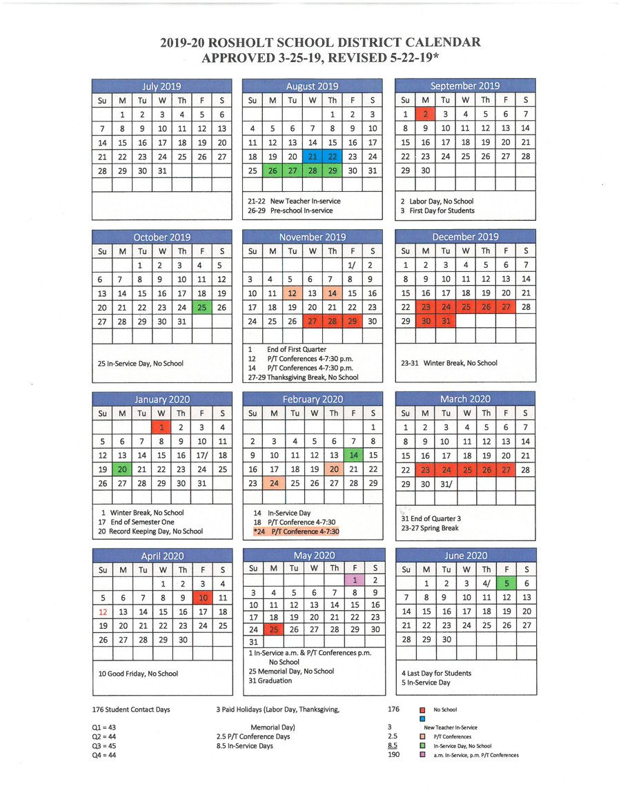 Rosholt School District – District Calendar M State Calendar 2019