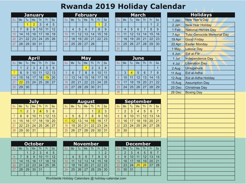 Rwanda 2019 / 2020 Holiday Calendar Calendar 2019 Rwanda