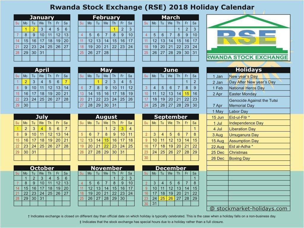 Rwanda Stock Exchange 2018 / 2019 Holidays : Rse Holidays 2018 / 2019 Calendar 2019 Rwanda