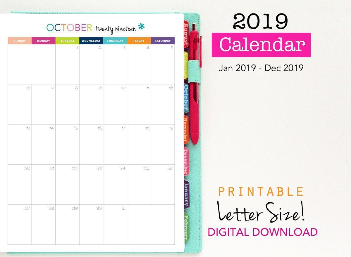 Sale 2019 Calendar Printable Planner Single Page Vertical   Etsy Calendar 2019 Sale