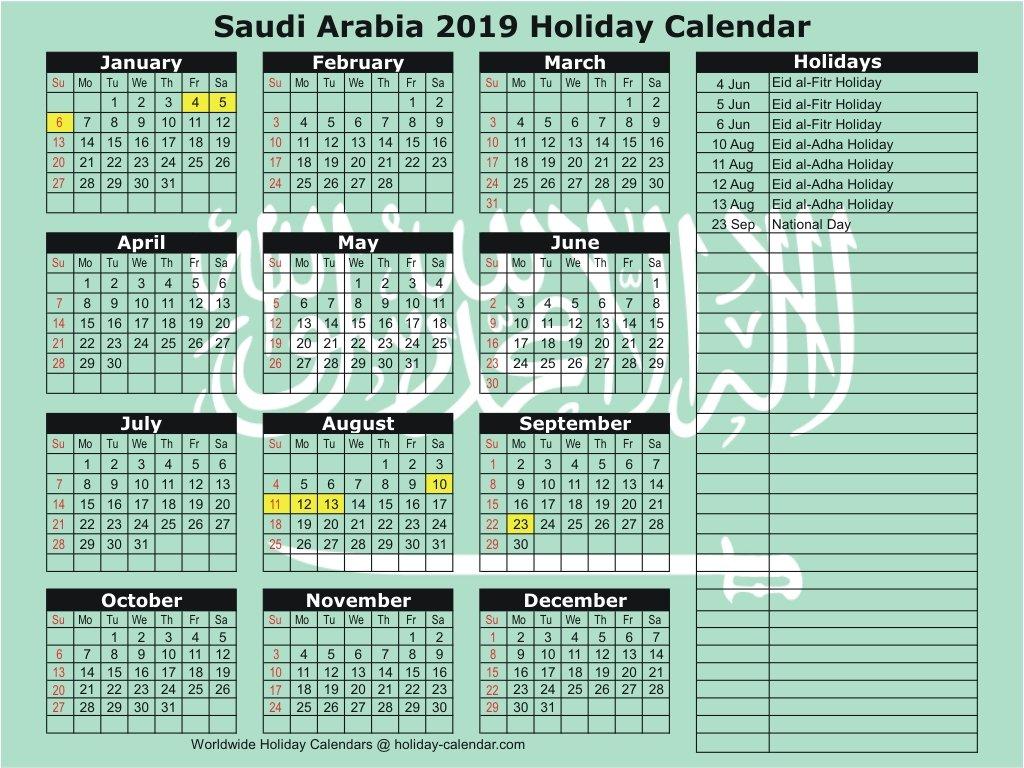 Saudi Arabia 2019 / 2020 Holiday Calendar Calendar 2019 Ksa