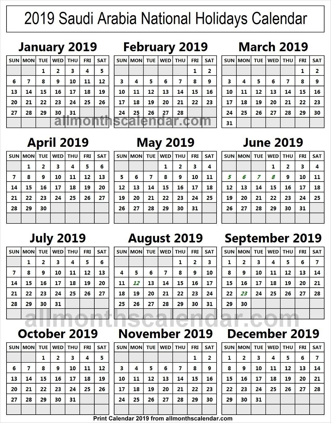 Saudi Arabia Holiday List 2019 Calendar | 2019 Saudi Arabia Calendar Calendar 2019 Ksa