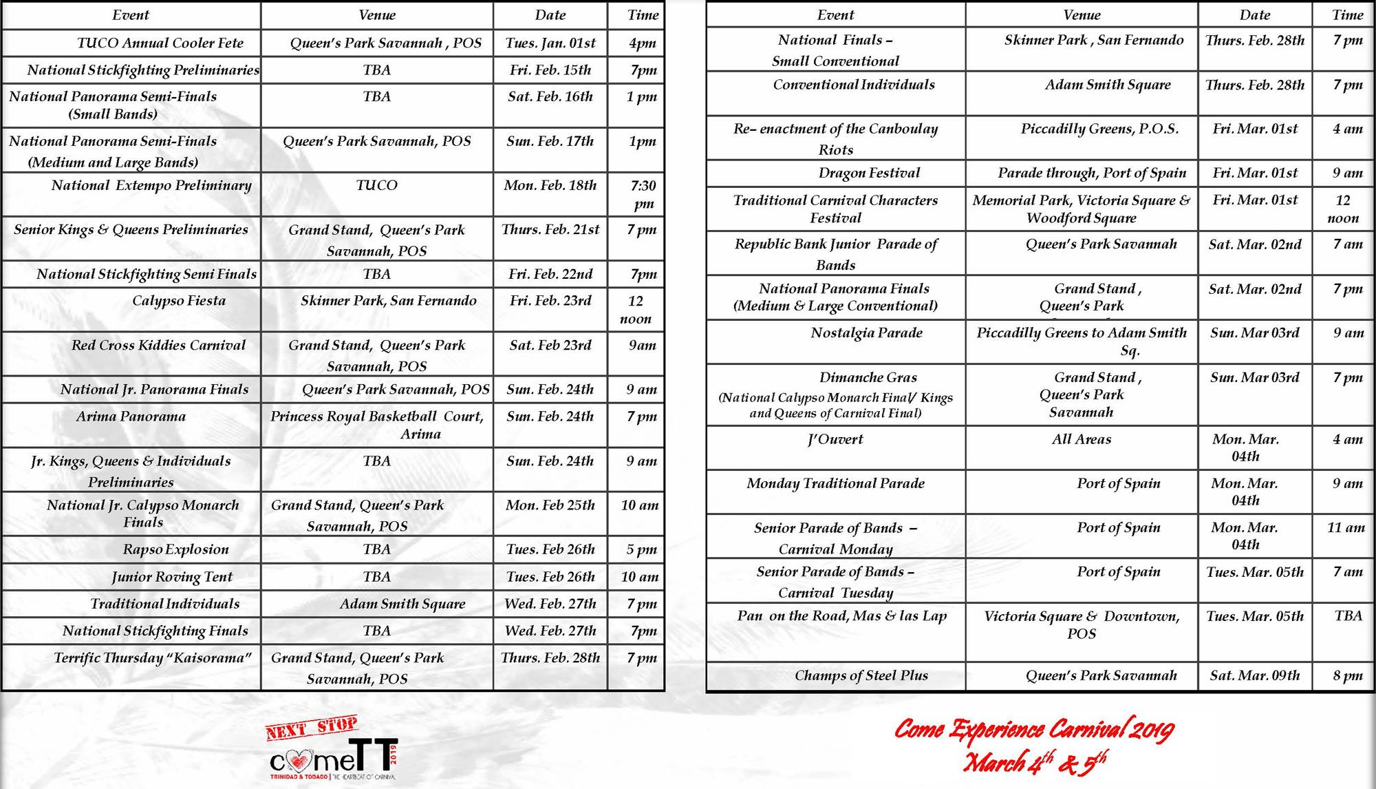Schedule Of Events For Carnival 2019 T&t Calendar 2019