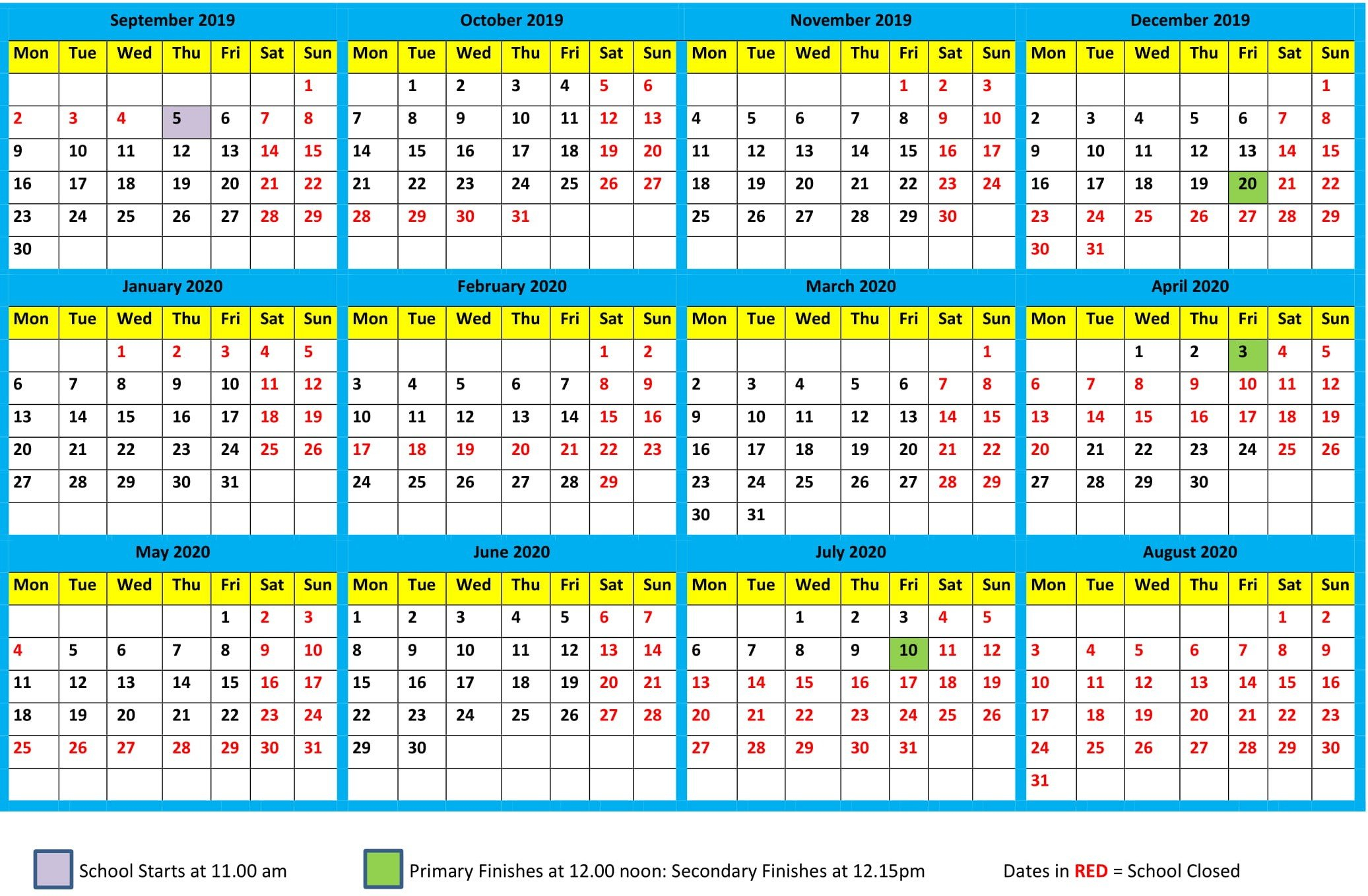 School Calendar 2019 2020 – Maharishi School Term 1 Calendar 2019