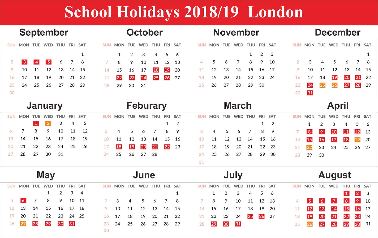 School Holidays 2019 London Calendar {Template} Calendar 2019 London