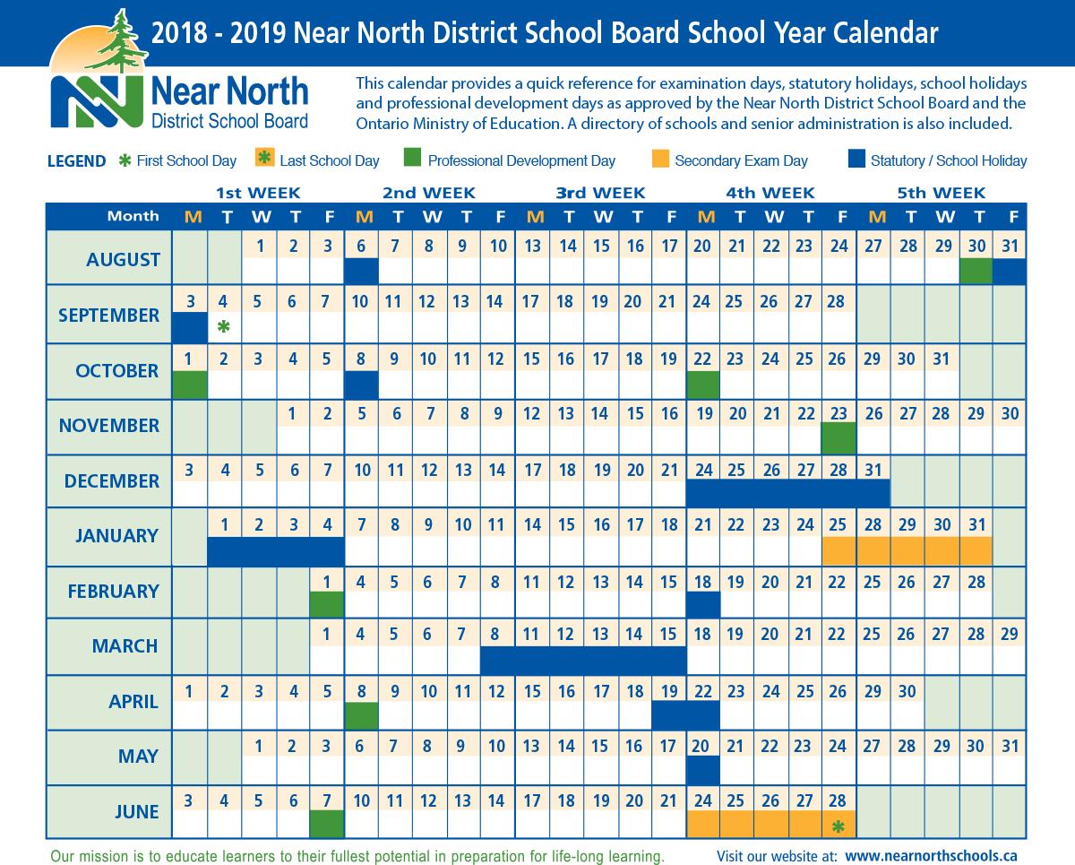 School Year Calendar 2018 2019 – Near North District School Board Calendar 2019 Ontario