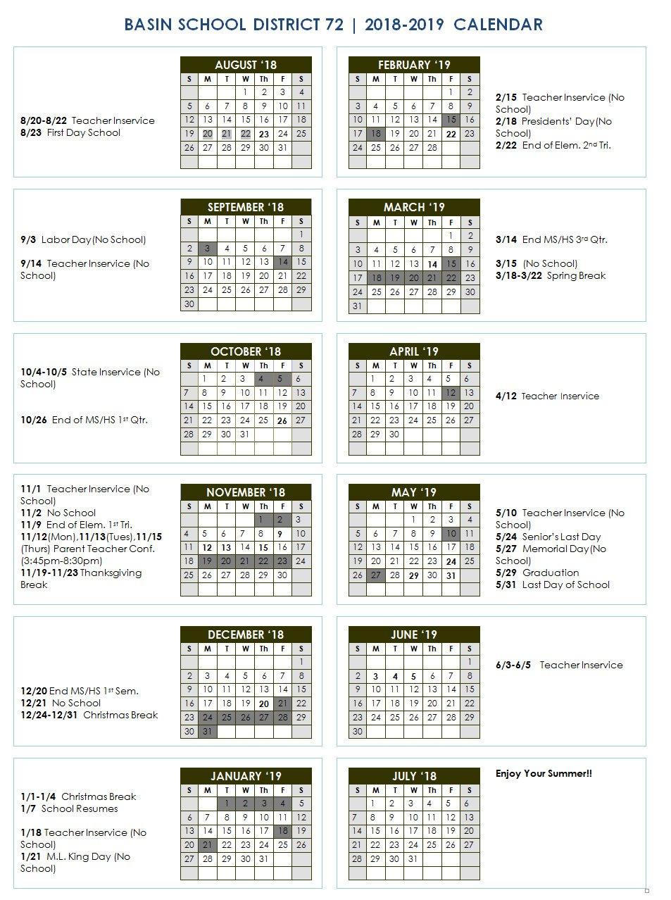 School Year Calendar - Idaho City Schools M State Calendar 2019