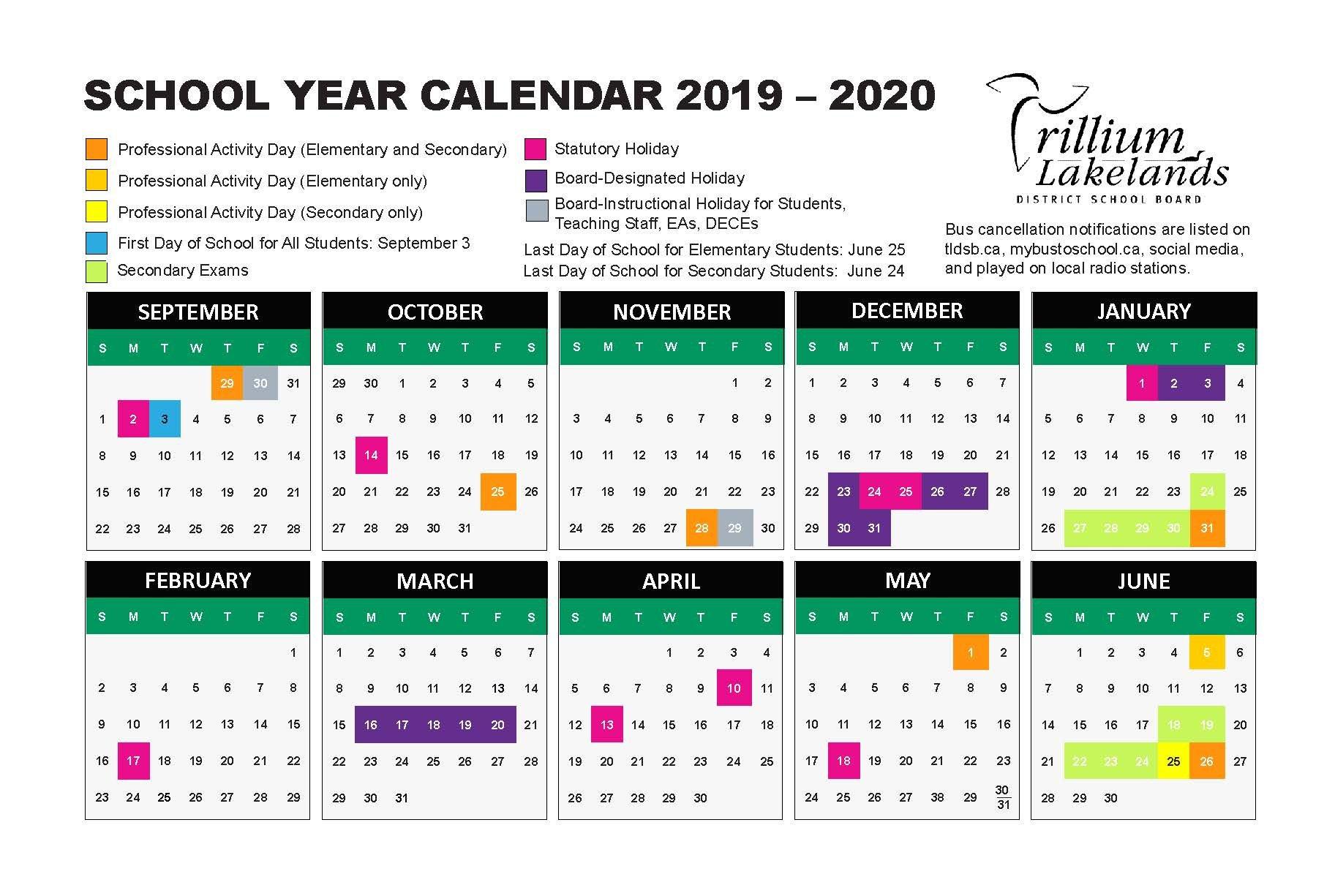 School Year Calendar – Trillium Lakelands District School Board U Of L Calendar 2019