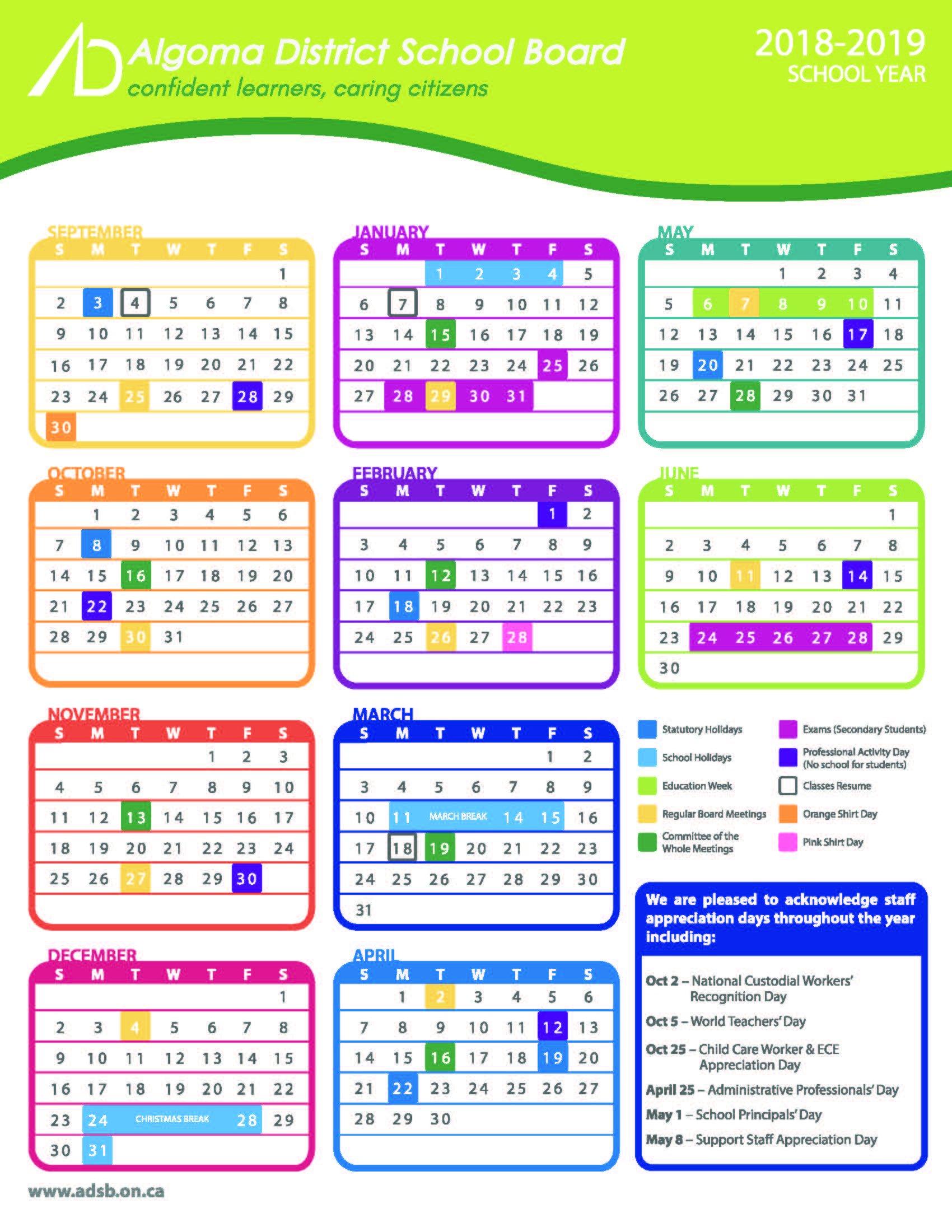 Schoolcalendar – All Documents District 6 Calendar 2019