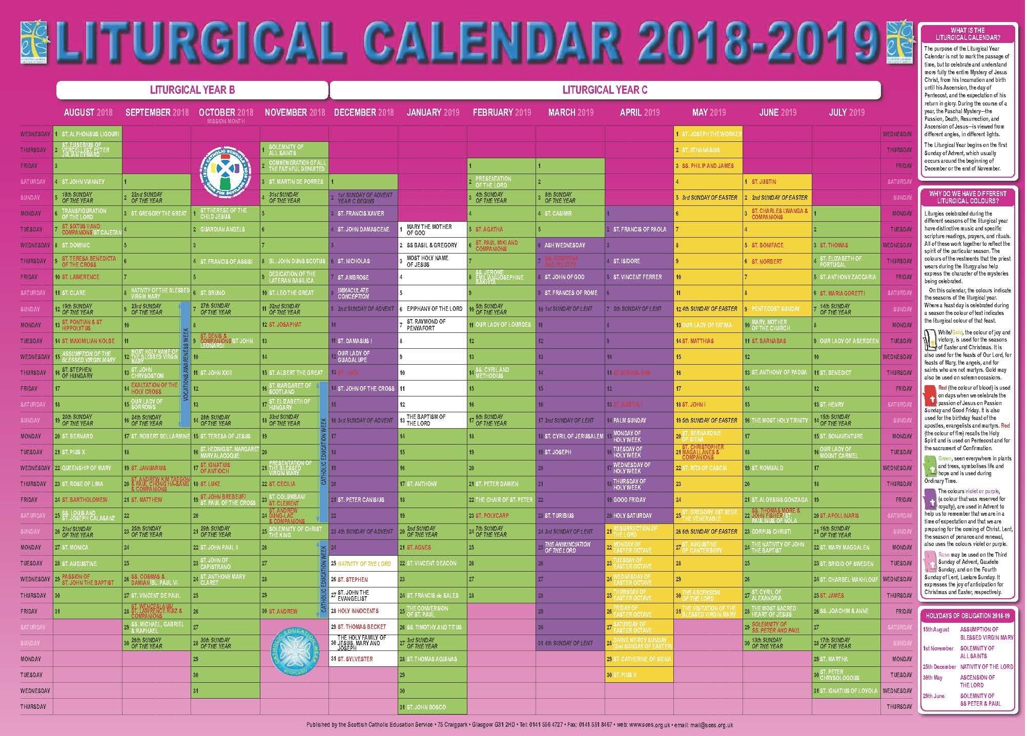 Scottish Catholic Education Service | Sces | Liturgical Calendar Calendar 2019 Catholic