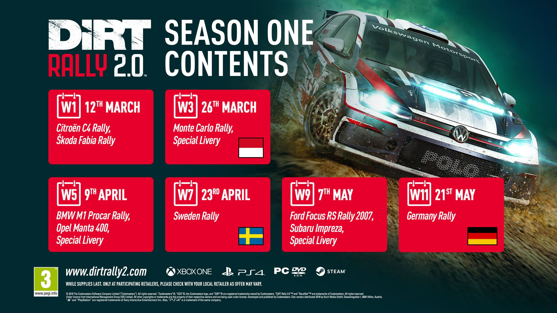 Season One Content Revealed For Dirt Rally 2.0! | Codemasters Blog Rally X Calendar 2019