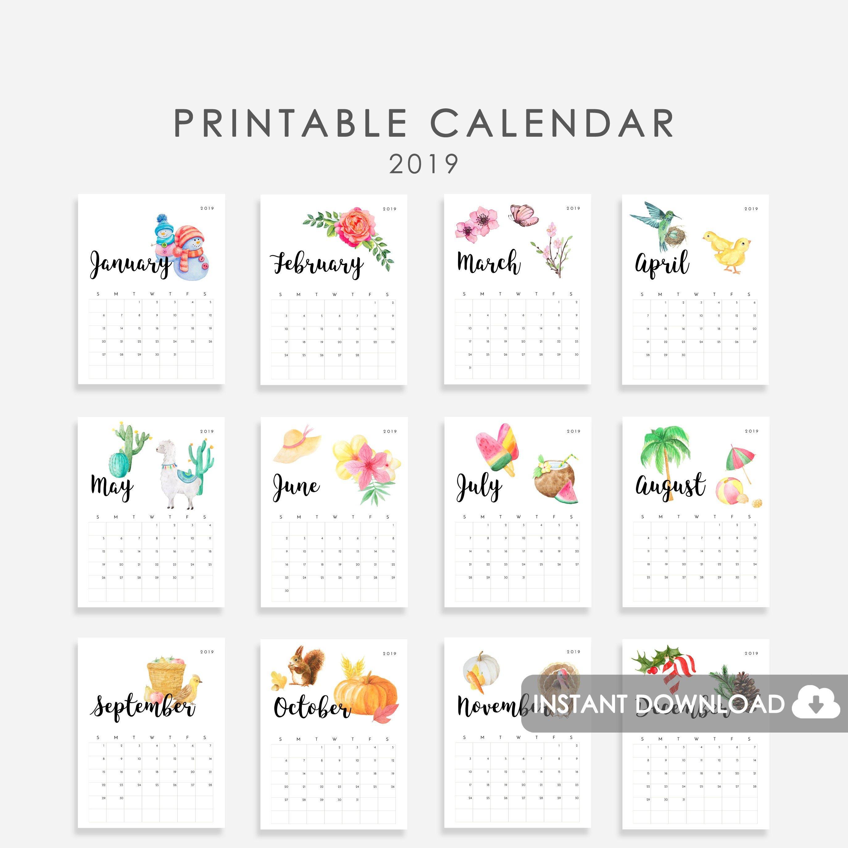 Seasonal Calendar 2019 Printable Watercolor Illustrations | Etsy 4 Seasons Calendar 2019