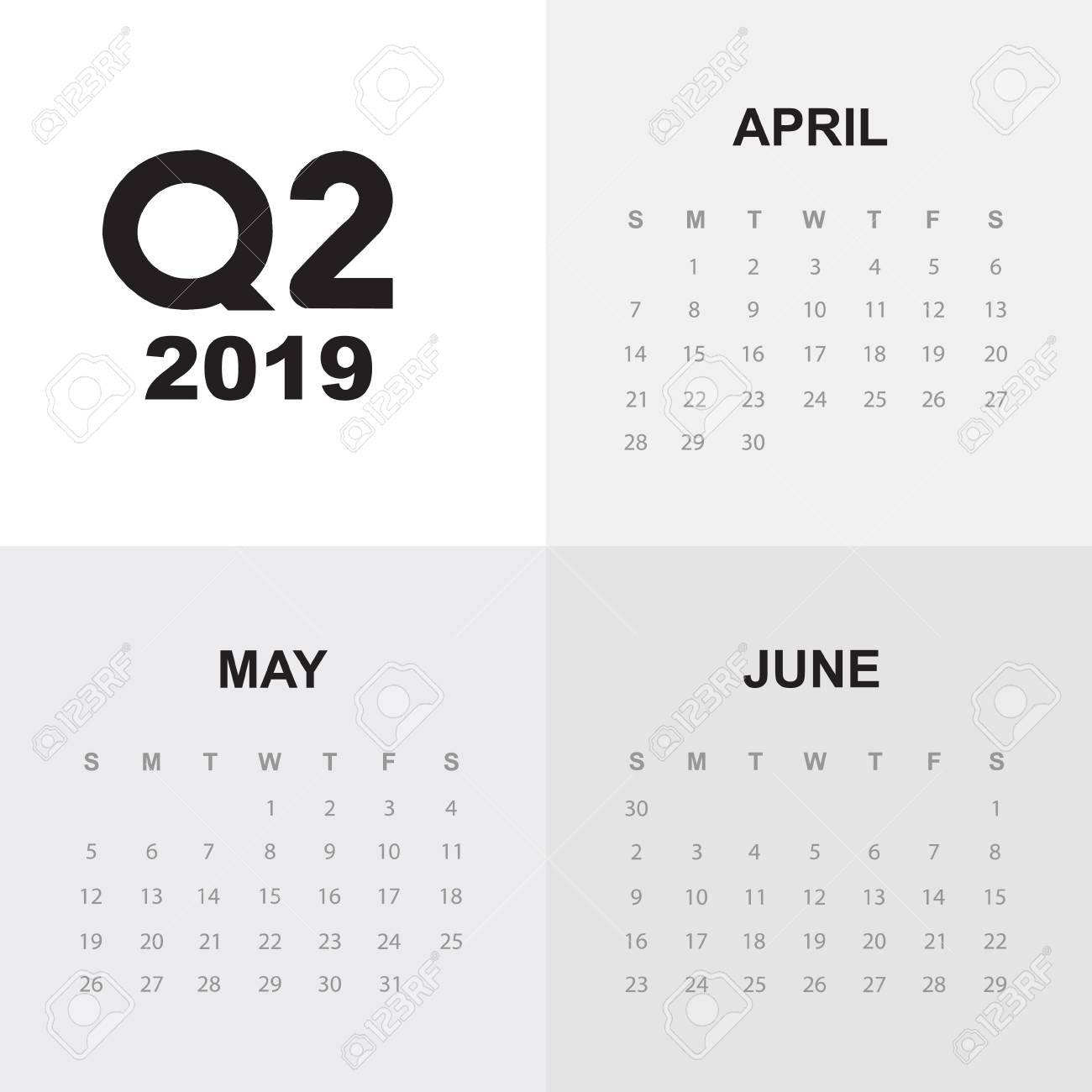 Second Quarter Of Calendar 2019 Royalty Free Cliparts, Vectors, And 2/2019 Calendar