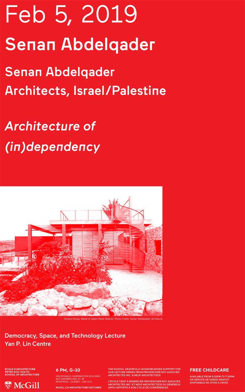 Senan Abdelqader: Lecture | Peter Guo Hua Fu School Of Architecture Mcgill E Calendar 2019