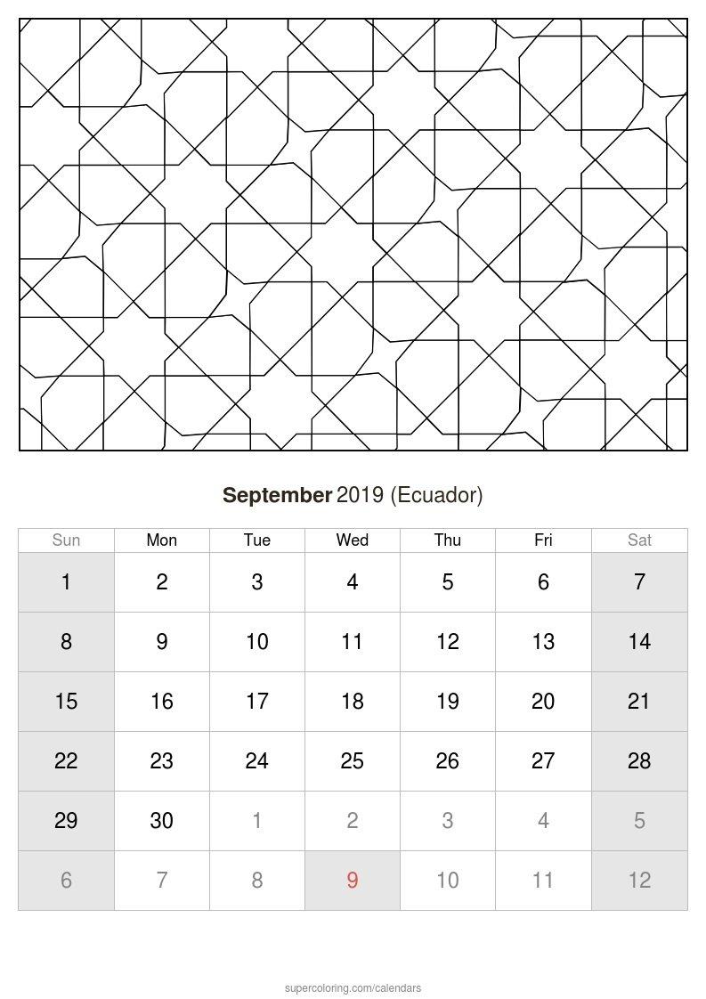 September 2019 Calendar – Ecuador Calendar 2019 Ecuador