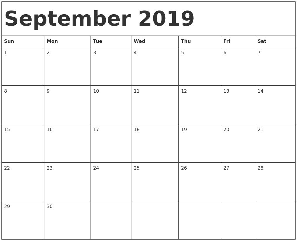 September 2019 Calendar Template R 2019 Calendar