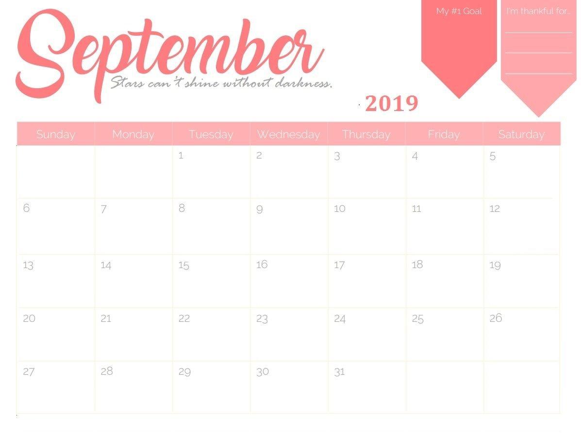 September 2019 Goal Planner Calendar | Calendar 2018 In 2019 Calendar 2019 Goals
