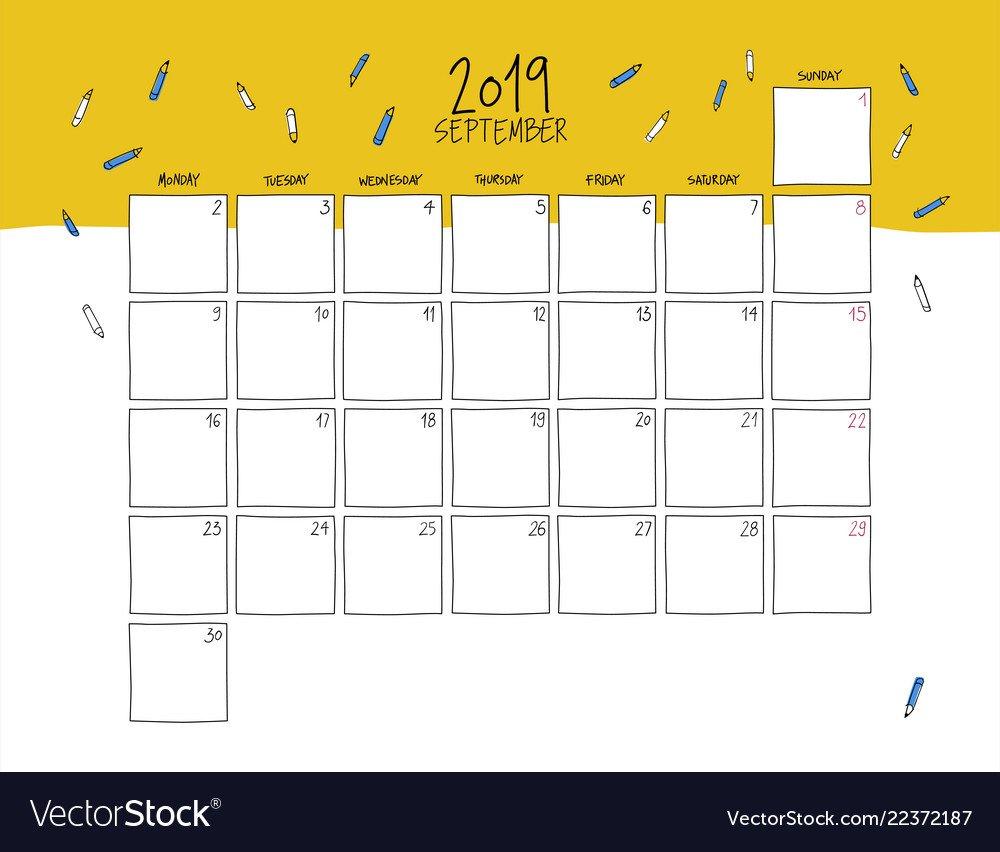 September 2019 Wall Calendar Doodle Style Vector Image Calendar 2019 For Wall