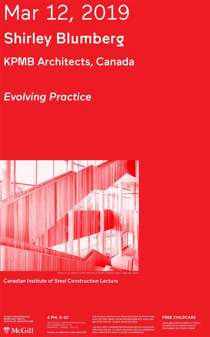 Shirley Blumberg: Lecture | Peter Guo Hua Fu School Of Architecture Mcgill E Calendar 2019