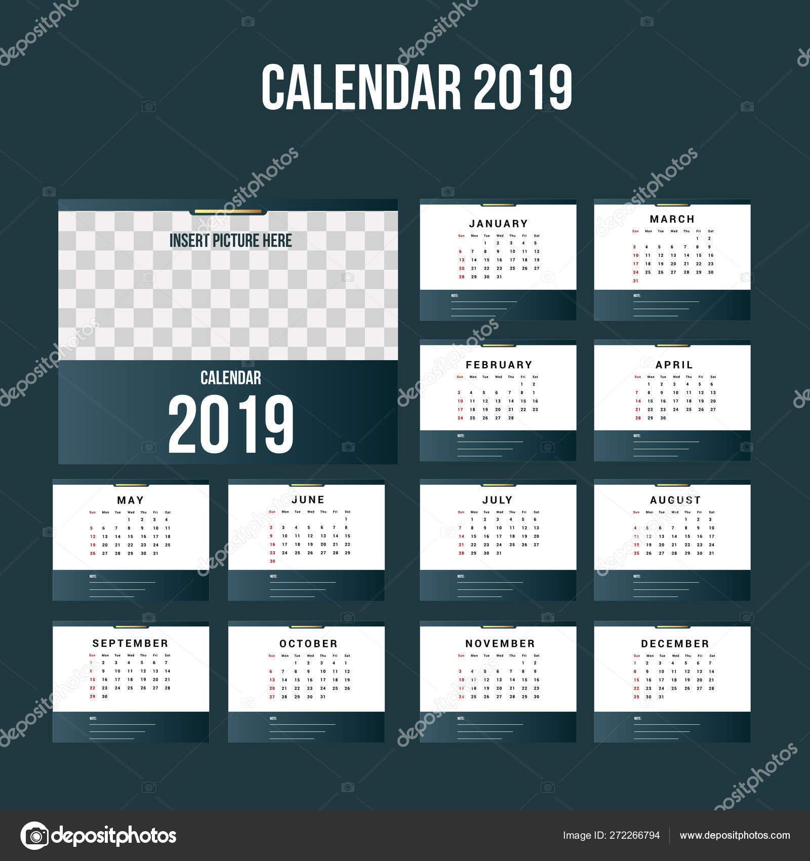 Simple Calendar 2019 Background Template — Векторное Изображение Calendar 2019 Background