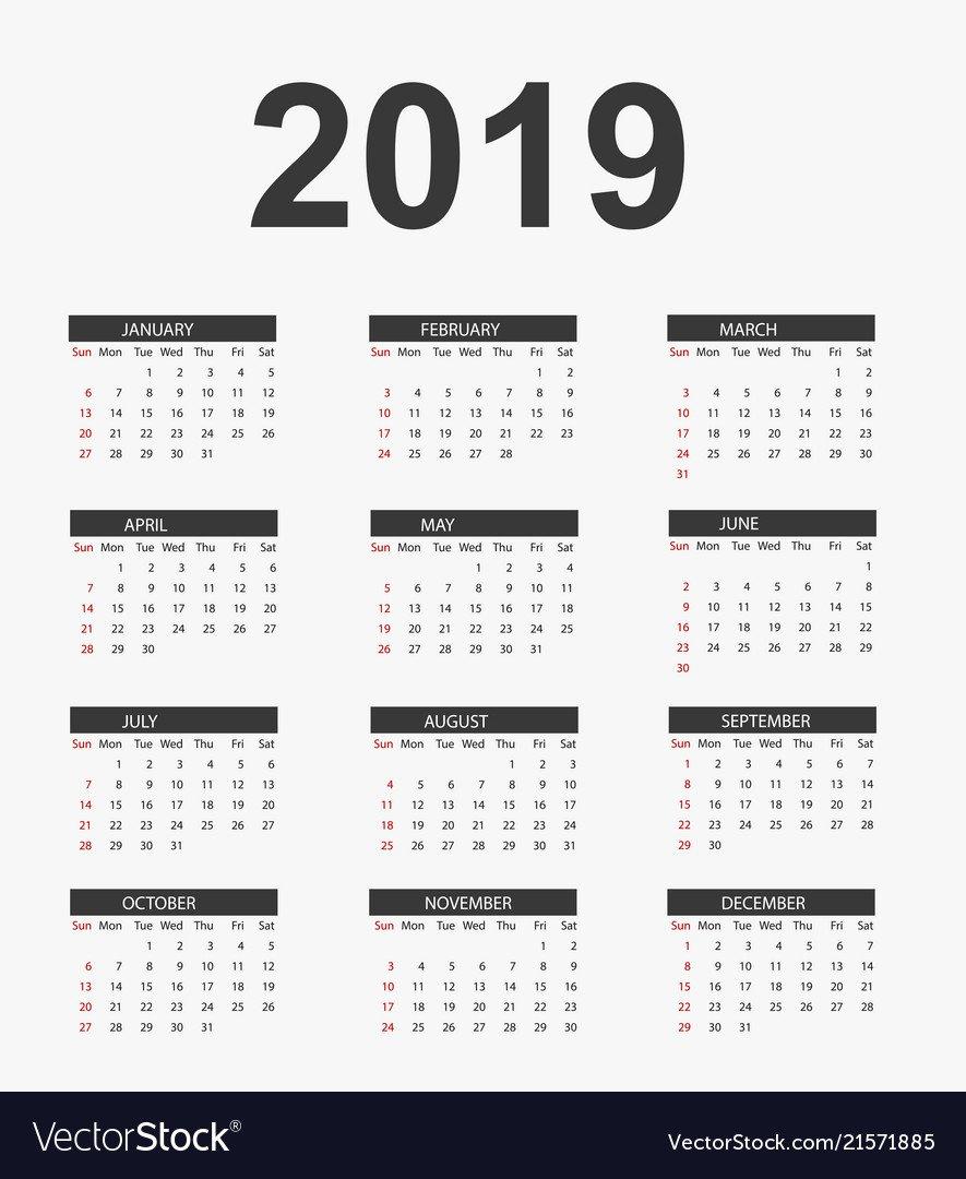 Simple Calendar 2019 Calendar 2019 Vector Image