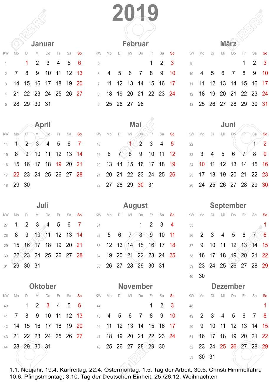 Simple Calendar 2019 – One Year At A Glance – Starts Monday With Calendar 2019 At A Glance
