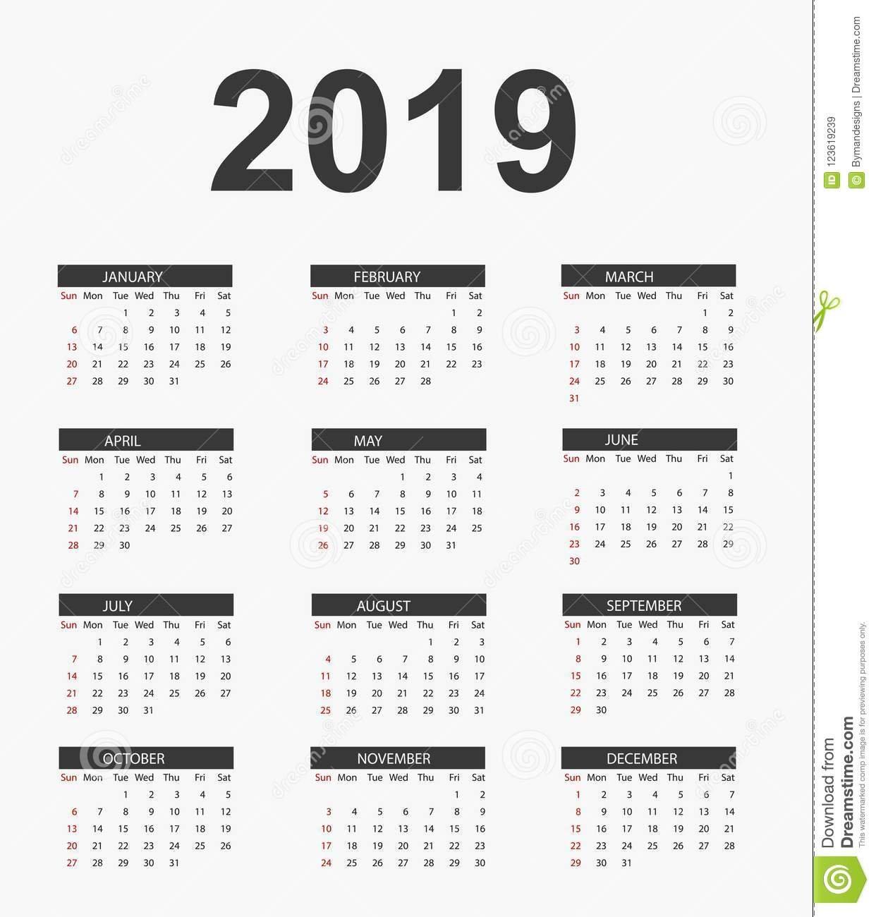 Simple Calendar 2019 .vector Files Stock Vector – Illustration Of Calendar 2019 Vector