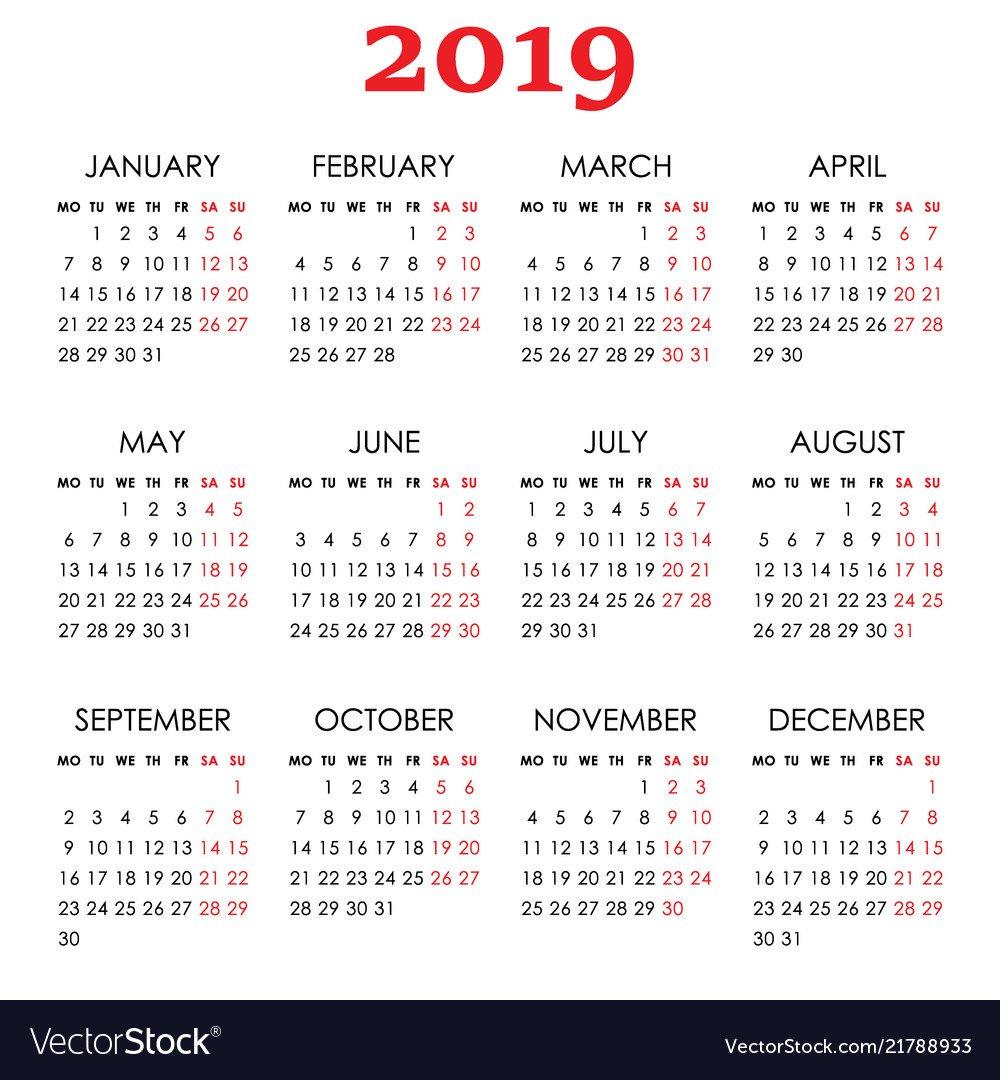 Simple Calendar For 2019 Year Week Starts Monday Vector Image Calendar 2019 Calendar