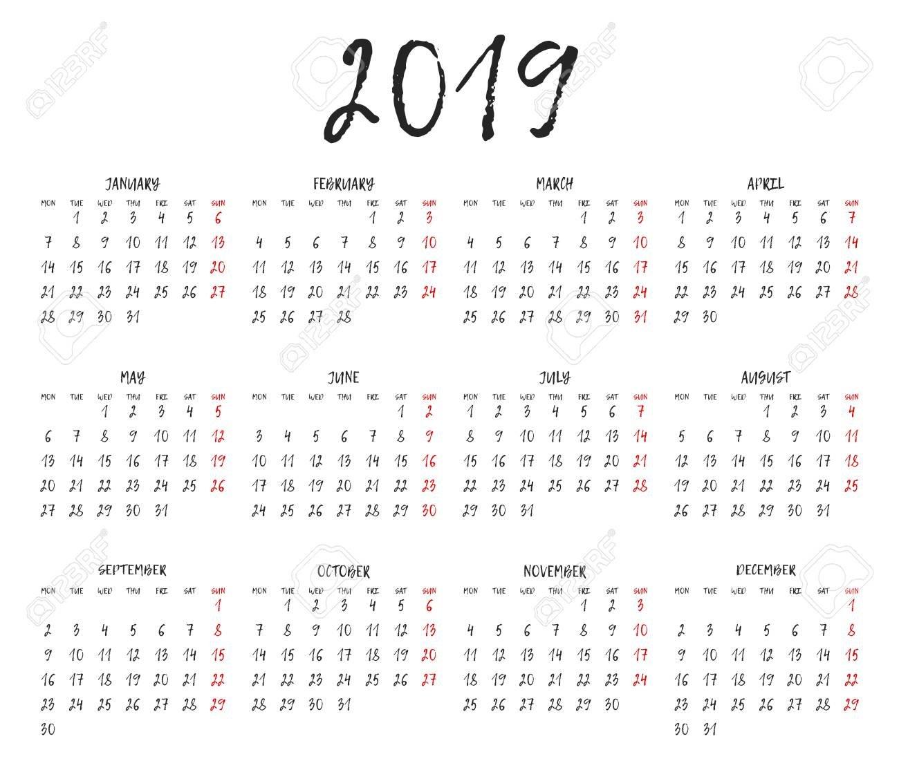 Simple Calendar Grid For 2019. Calendar Template. Week Starts Monday Calendar 2019 Calendar