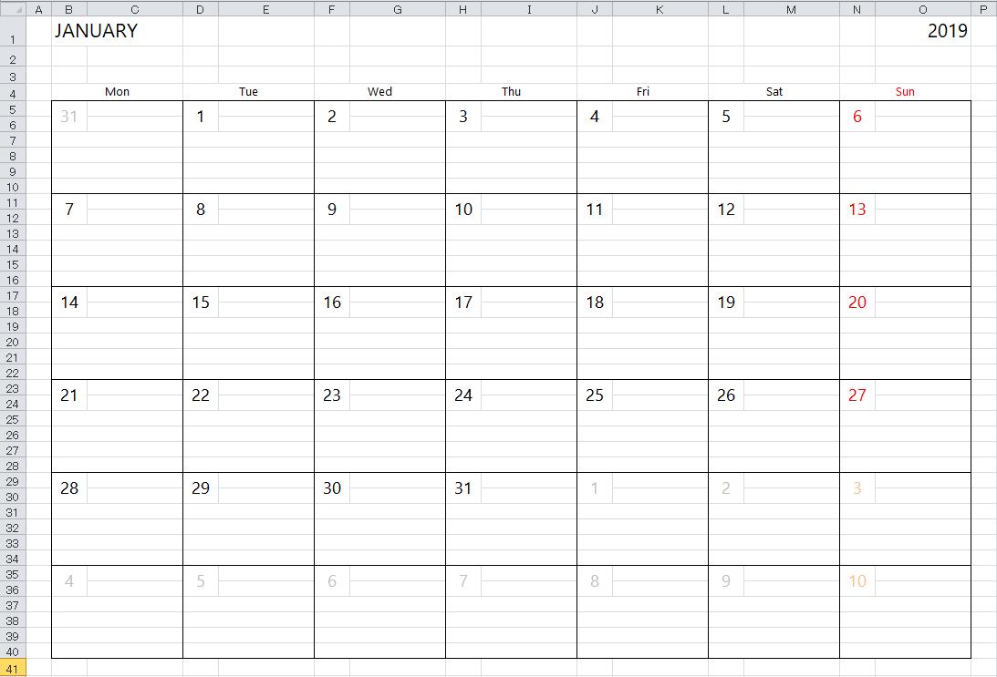 Simple Excel Calendar Template Calendar 2019 In Excel