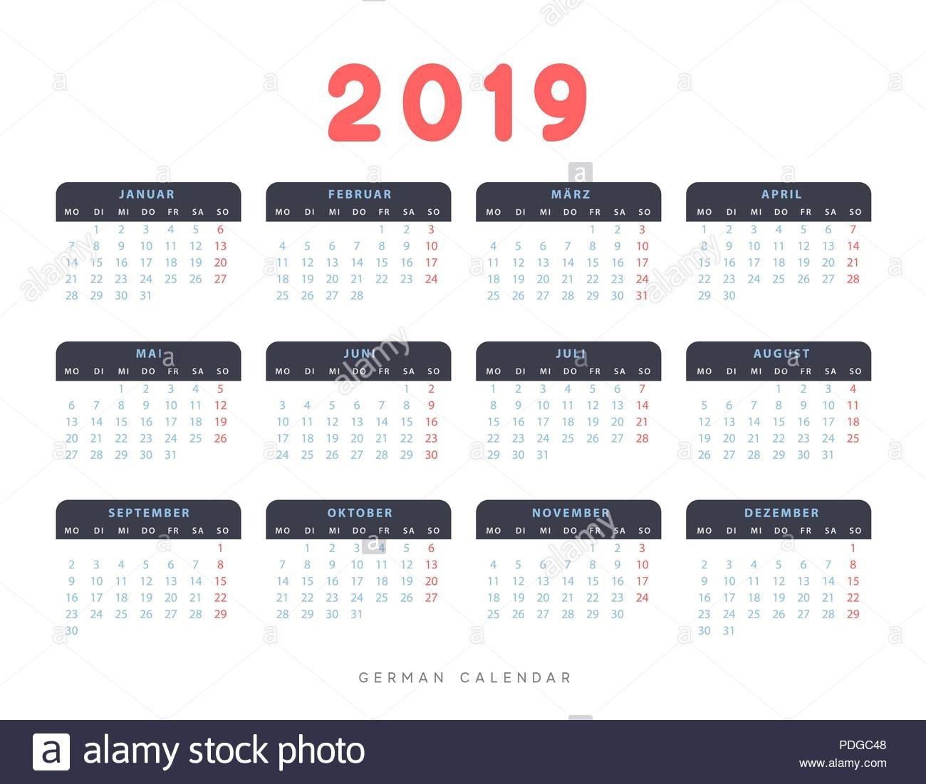 Simple Germany Calendar For 2019 Years, Week Starts On Monday Stock Calendar 2019 Germany Week Numbers