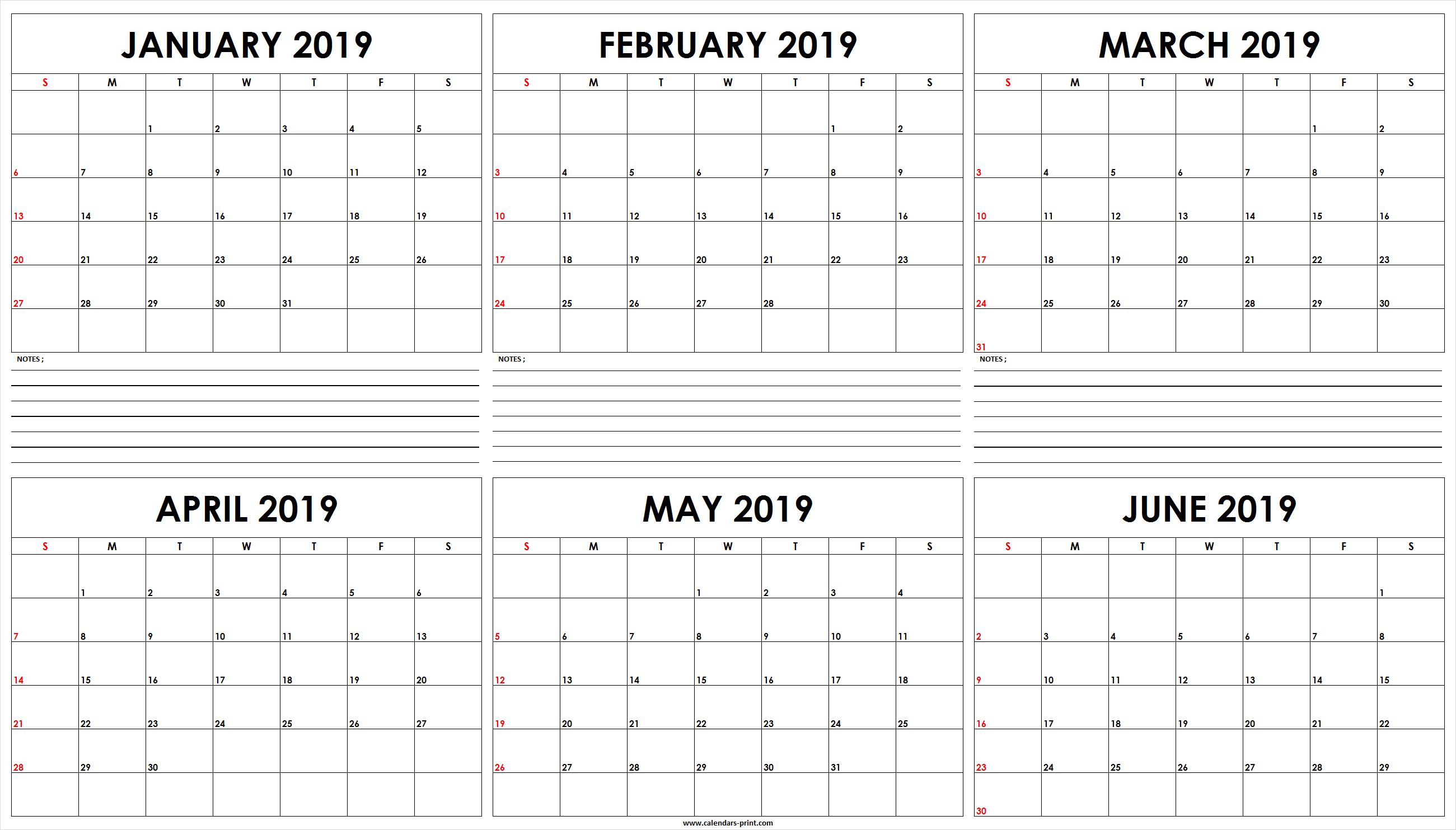 Six Monthly January 2019 To June 2019 Calendar Template   Editable January 6 2019 Calendar