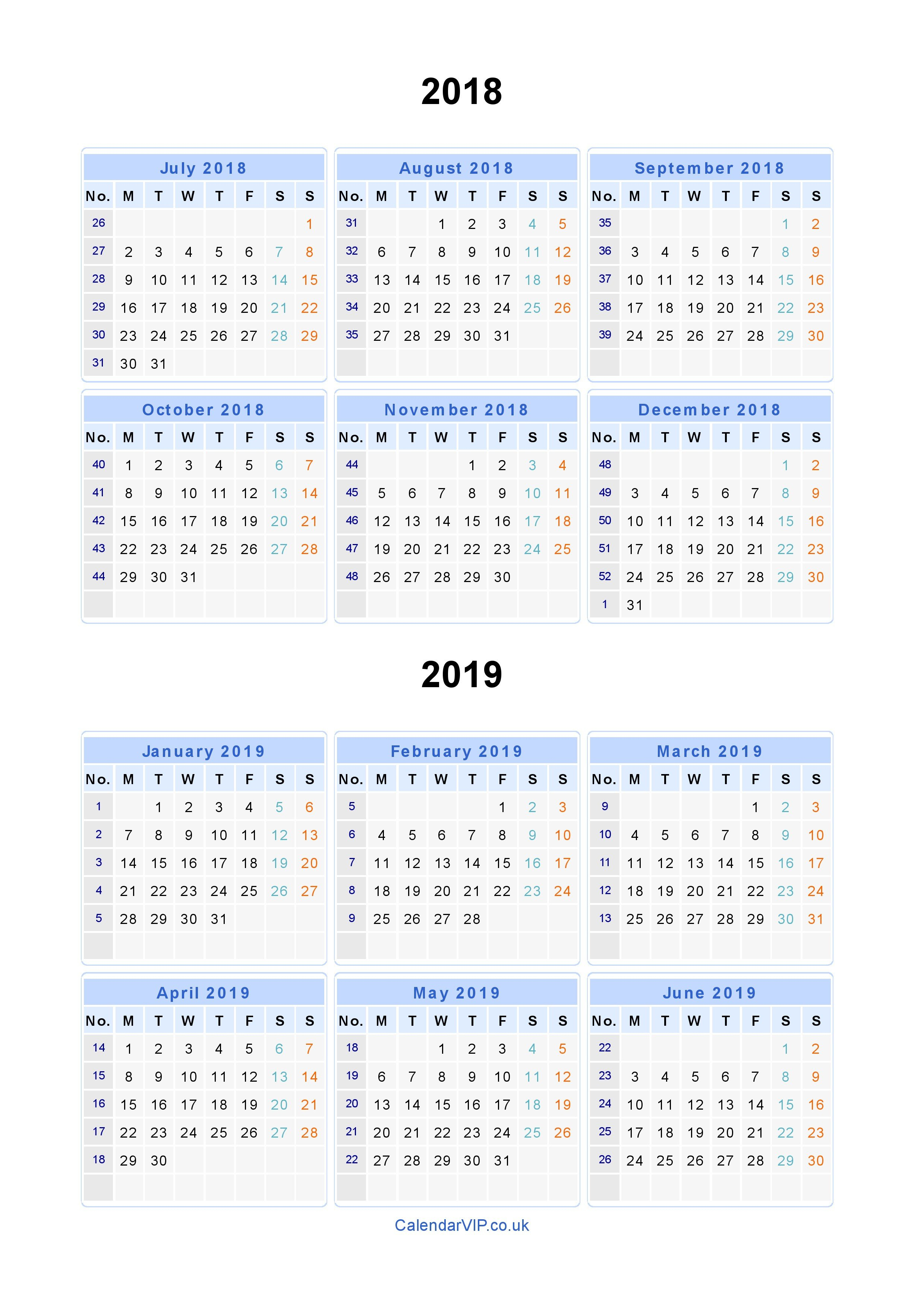 Split Year Calendars 2018 2019 – Calendar From July 2018 To June 2019 June 9 2019 Calendar