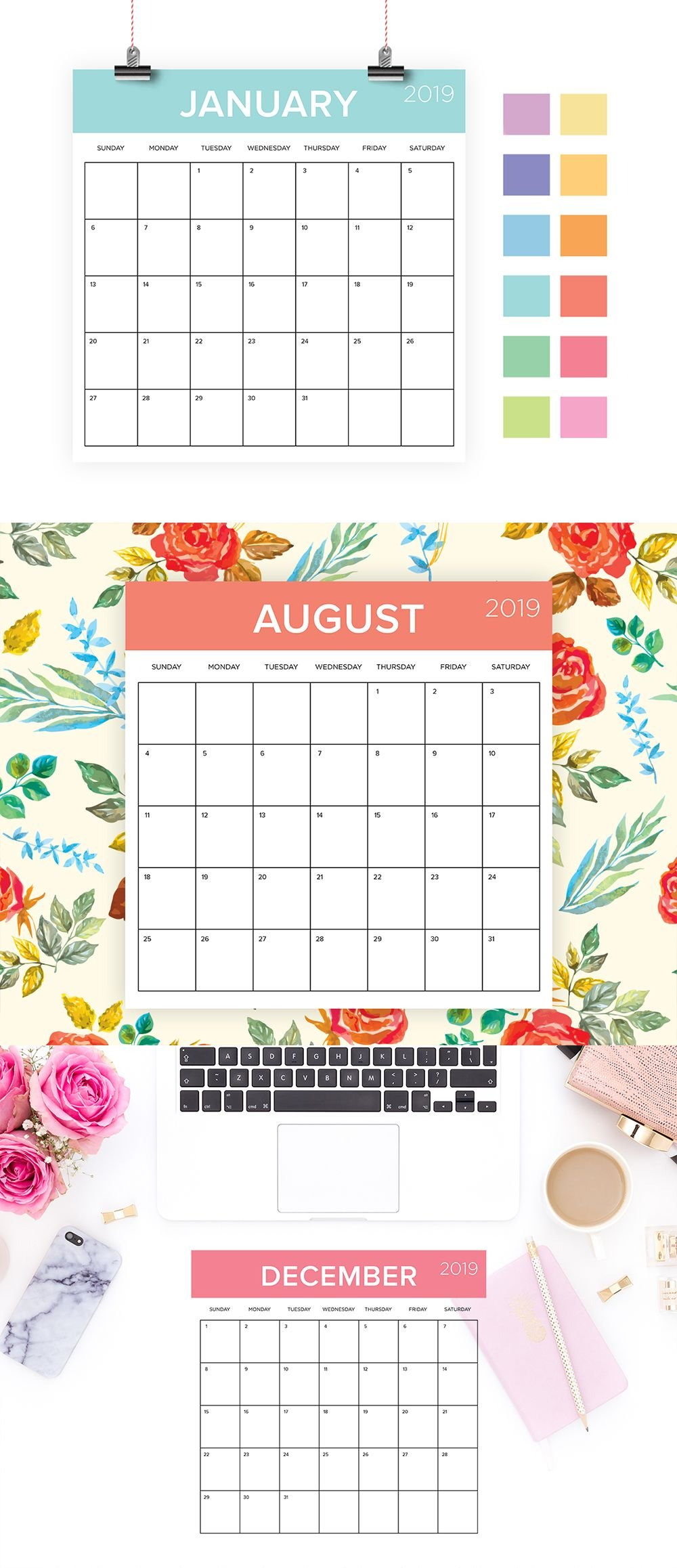 Square 2019 Calendar Template | Instant Download | Color Coded X Calendar 2019 Download