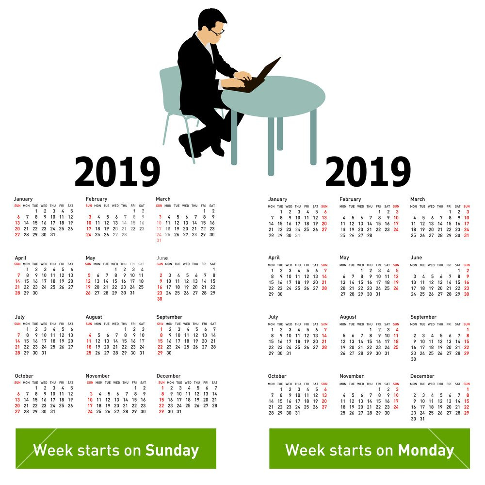 Stylish Calendar With Silhouette Man Sitting Behind Computer For Calendar 2019 On Computer