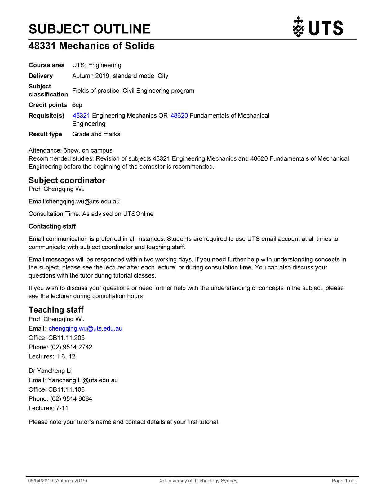 Summary 048331 048331 24 May 2019 – Studocu Uts Calendar B 2019