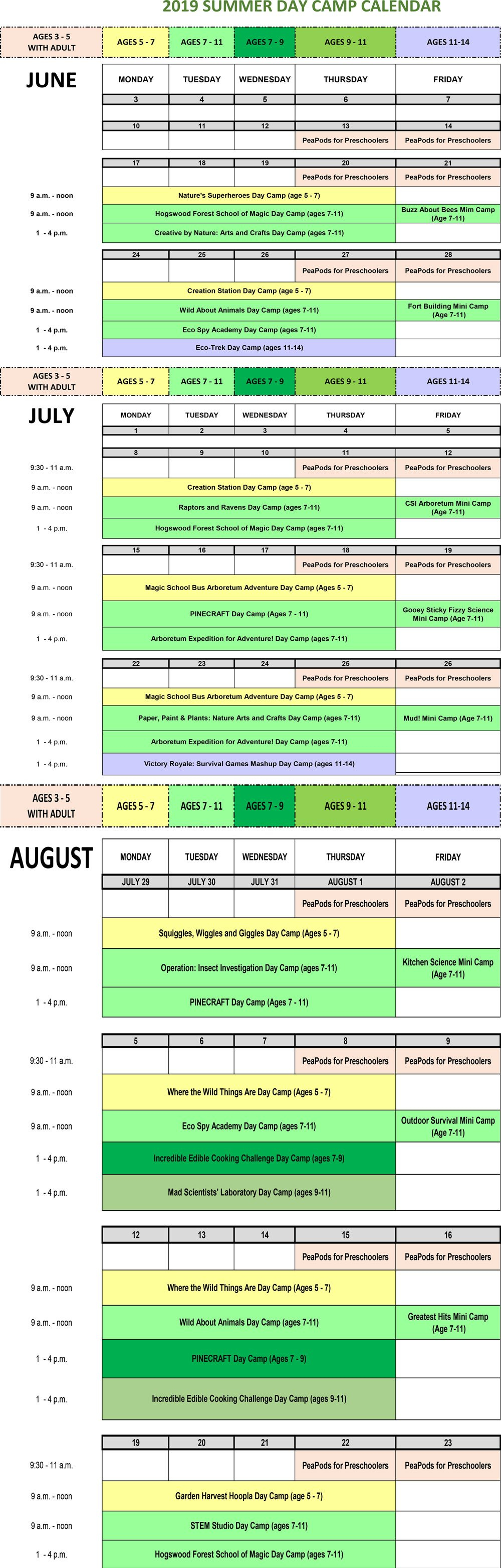 Summer Program Calendar Calendar 2019 Umn