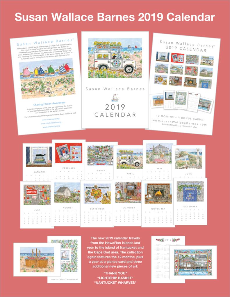 Susan Wallace Barnes * 2019 * – 5 X 7 2019 Calendar | Cachet Wellesley 5 X 7 2019 Calendar