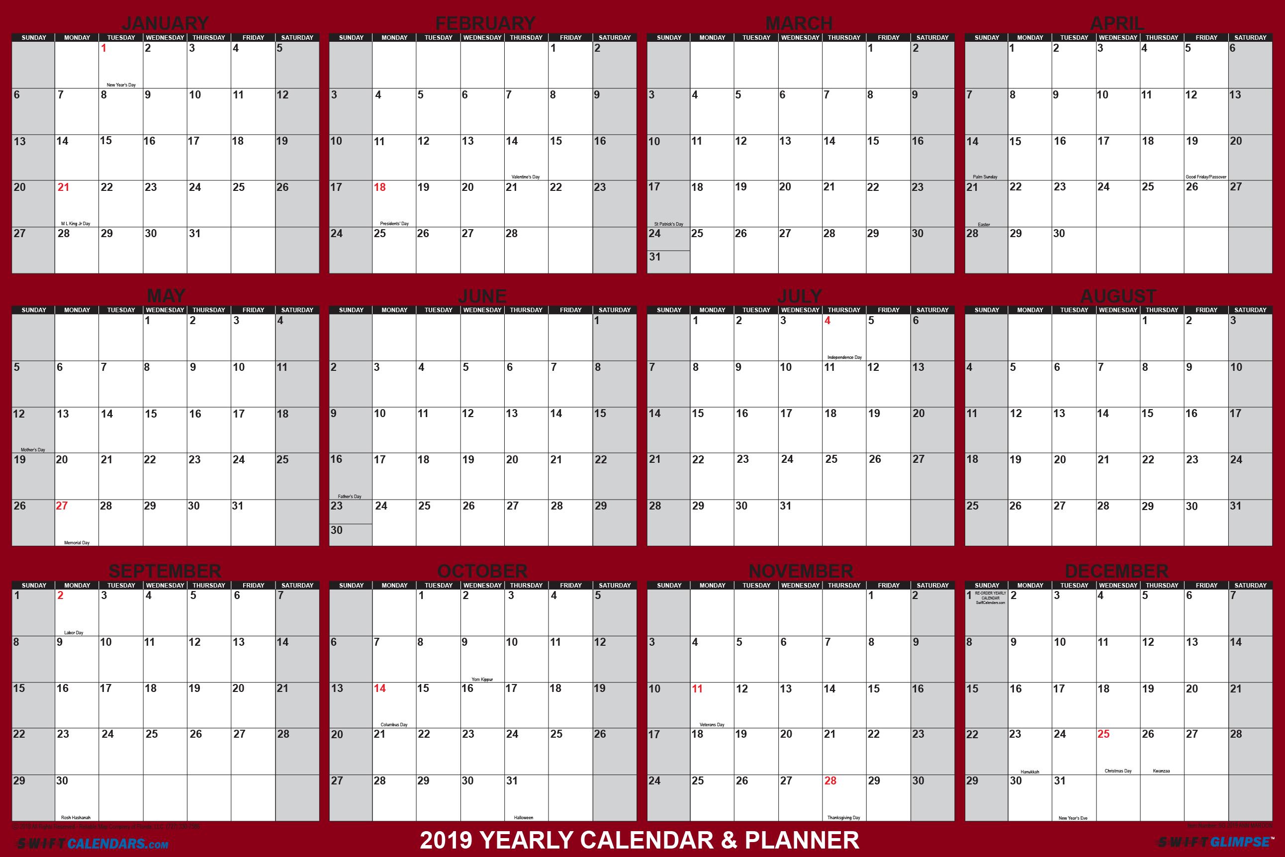 "Swiftglimpse Wall Calendar 2019, Yearly, 24 X 36"", 12 Months Laminated Calendar X 2019"