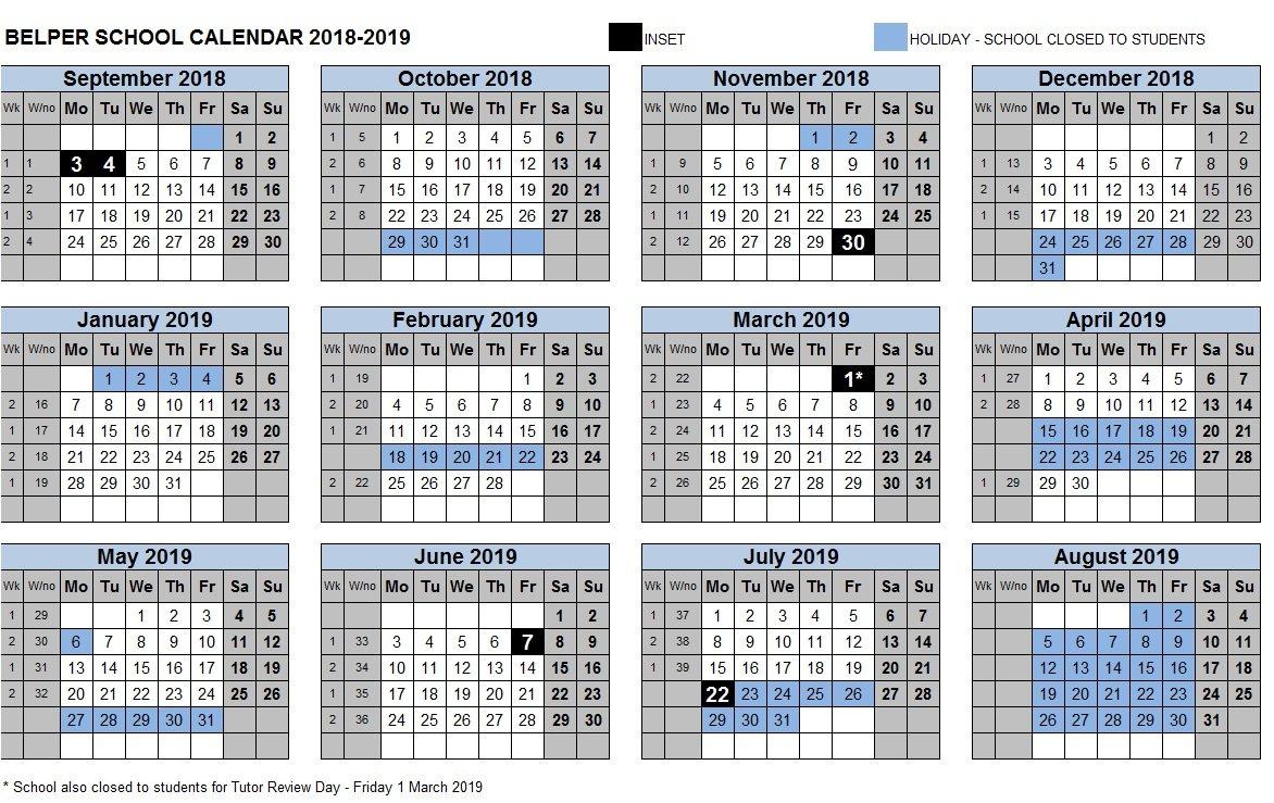 Term Dates – Belper School And Sixth Form Centre 3 Term School Calendar 2019