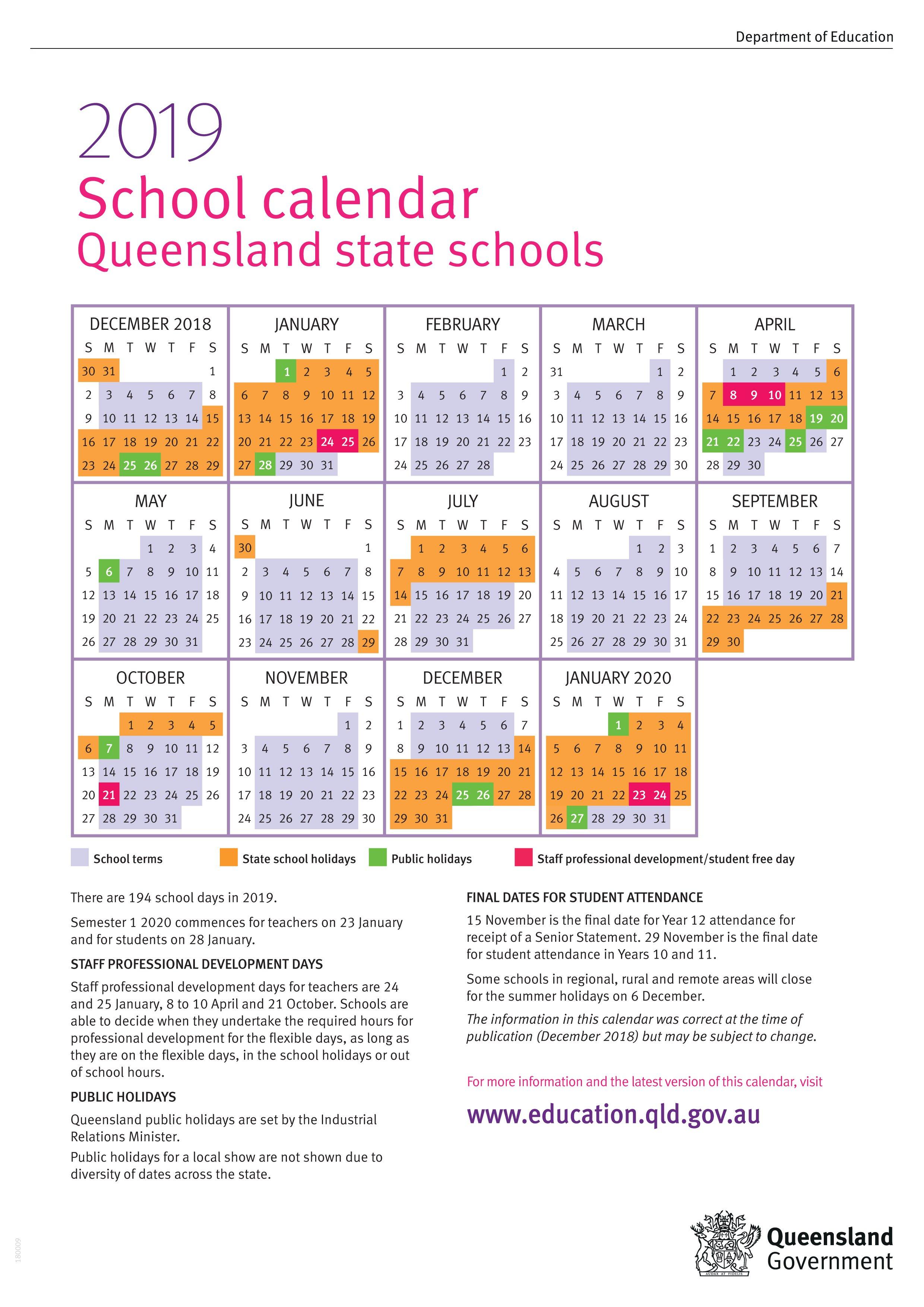 Term Dates Calendar 2019 Qld School Holidays