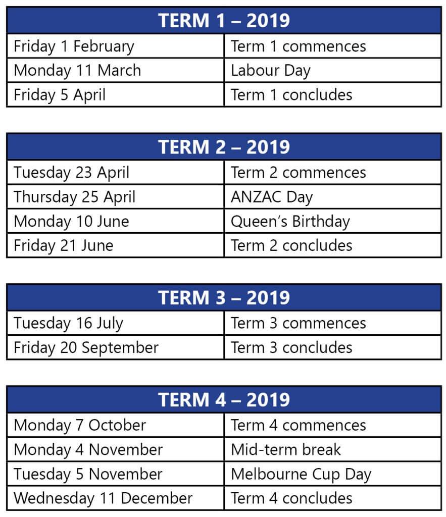 Term Dates Calendar 2019 Vic School Holidays