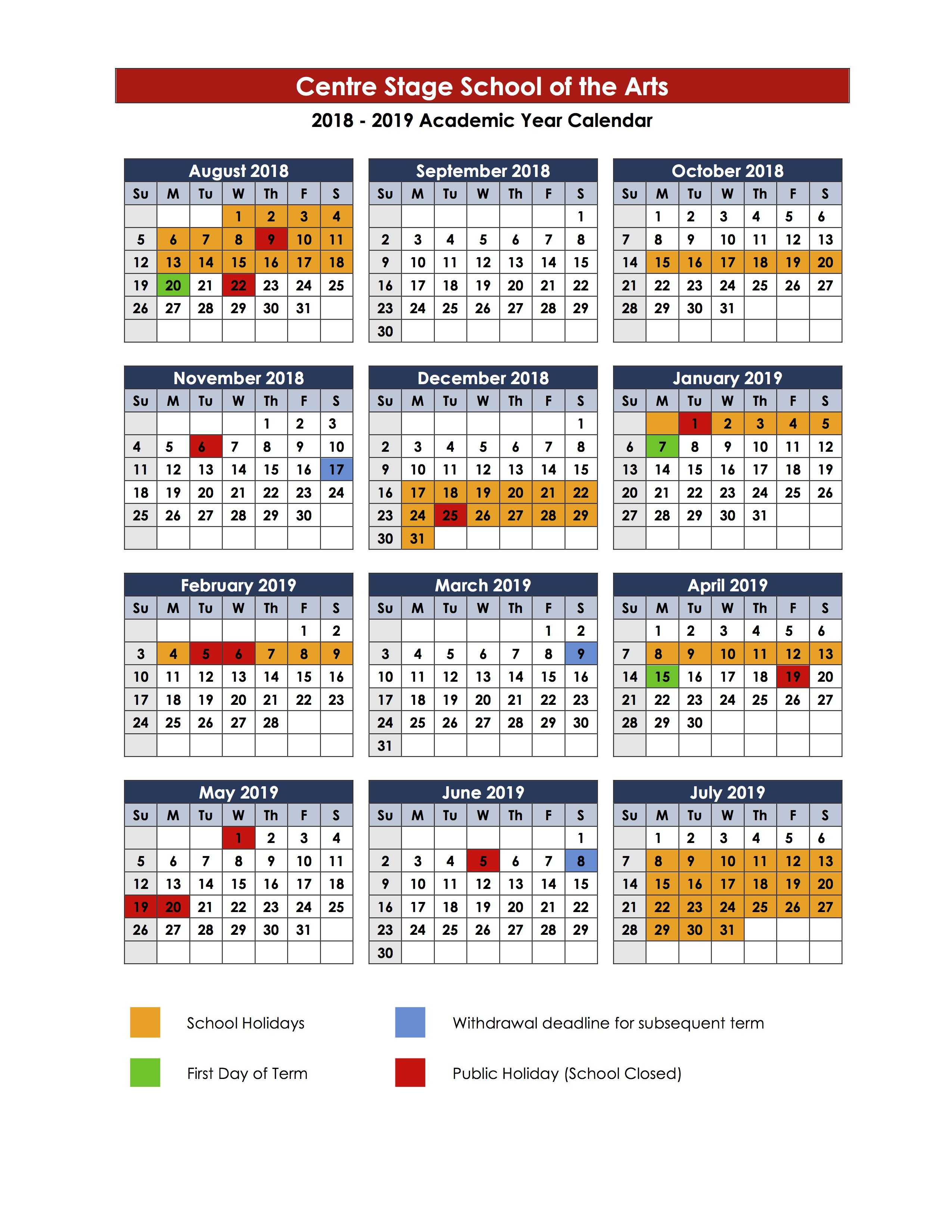 Term Dates – Centre Stage 3 Term School Calendar 2019