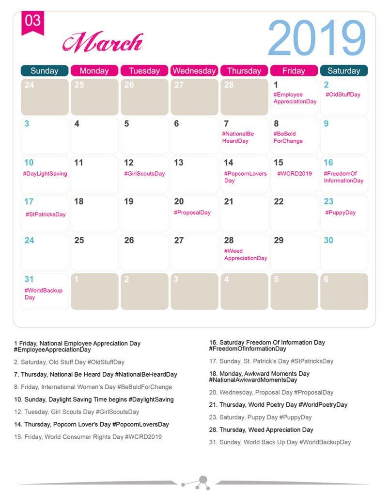 The 2019 Social Media Holiday Calendar – Make A Website Hub Calendar 2019 Special Days