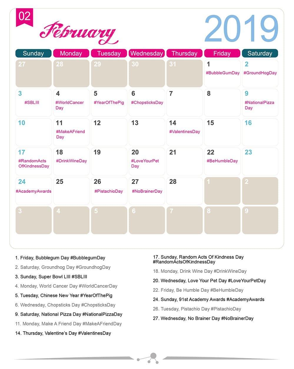 The 2019 Social Media Holiday Calendar - Make A Website Hub Calendar 2019 Special Days
