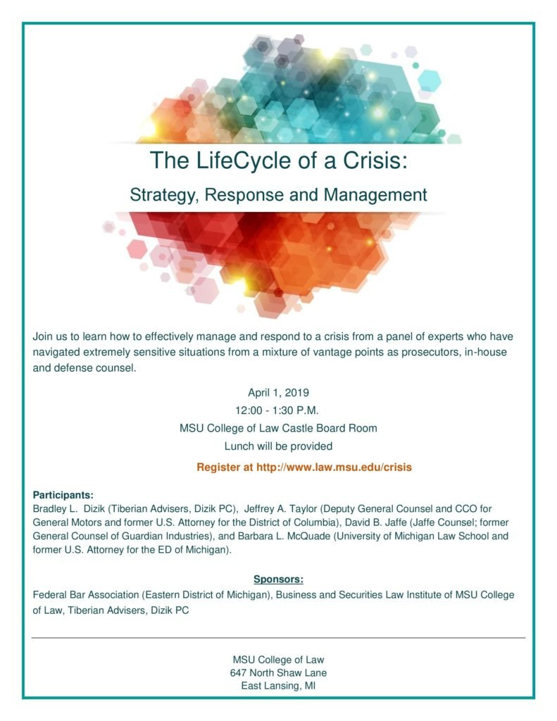 The Lifecycle Of A Crisis: Strategy, Response And Management U Michigan Calendar 2019