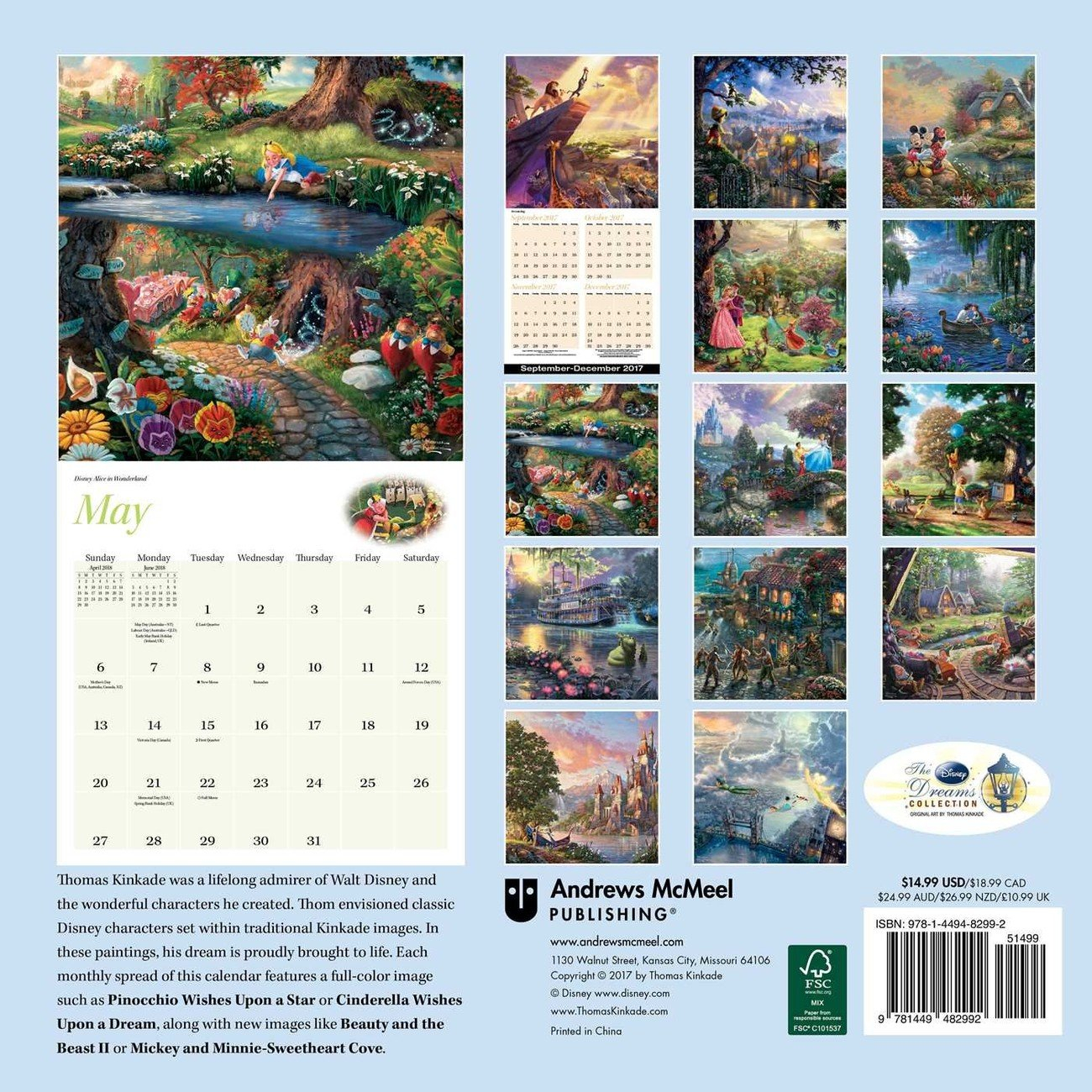 Thomas Kinkade – The Disney Dreams Collection Календарі 2020 На Calendar 2019 Thomas Kinkade